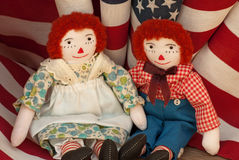 Raggedy Ann & Andy with USA flags Stock Photos
