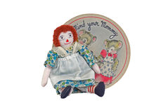 Raggedy Ann doll & Mind your Mommy bear old record Royalty Free Stock Photography