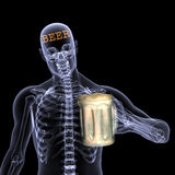 Raggi X di scheletro - birra Fotografie Stock