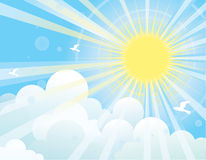 Raggi di Sun e sky.NAture blu Immagini Stock Libere da Diritti