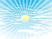 Raggi di Sun nel cielo blu Fotografia Stock