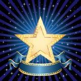 Raggi dorati dell'azzurro della stella Immagine Stock Libera da Diritti