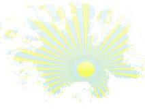 Raggi gialli del sole di Grunge in cielo blu Immagini Stock