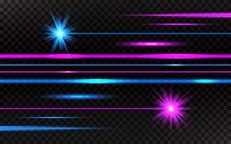 Raggi laser messi Raggi luminosi orizzontali rosa e blu Linee luminose astratte su fondo trasparente Pacchetto dei fasci sopra royalty illustrazione gratis