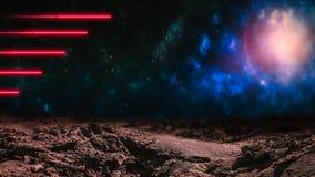 Raggi laser rossi sopra il fondo dello spazio cosmico immagini stock