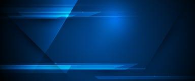 Raggi luminosi di vettore, linee delle bande con luce blu, velocità e mosso sopra fondo blu scuro illustrazione vettoriale