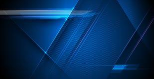Raggi luminosi di vettore, linee delle bande con luce blu, velocità e mosso sopra fondo blu scuro royalty illustrazione gratis