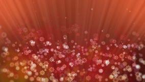 Raggi rossi di festa con la stella ed i fiocchi di neve brillanti illustrazione vettoriale