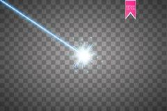 Raggio laser blu astratto Isolato su fondo nero trasparente Illustrazione di vettore, Fotografia Stock