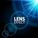 Raggio luminoso collimato realistico L'effetto del chiarore della lente L'incandescenza blu, illuminazione luminosa Illustrazione Immagini Stock