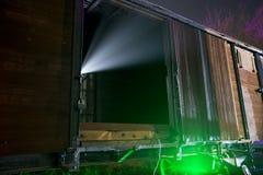 Raggio luminoso del UFO dal treno fotografia stock