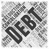 Raggiunga il consolidamento di debito ed il concetto della nuvola di parola di riduzione di pagamento Fotografie Stock