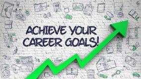 Raggiunga la vostra carriera Brickwall bianco attinto scopi Immagine Stock Libera da Diritti