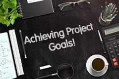 Raggiungimento del concetto di scopi di progetto 3d rendono Fotografia Stock Libera da Diritti