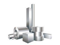 Raggruppi gli oggetti differenti dell'acciaio del metallo circondano, quadrano, collegano, convogliano Fotografia Stock