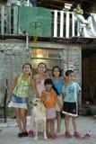Raggruppi il ritratto dei bambini con l'animale domestico, Argentina Immagini Stock Libere da Diritti