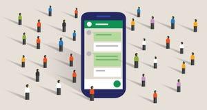 Raggruppi la comunità di chiacchierata del forum pubblico di comunicazione di conversazione digitale della gente illustrazione vettoriale