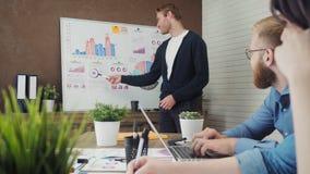 Raggruppi la gente di affari che ha una riunione facendo uso di un bordo bianco nello spazio ufficio moderno archivi video