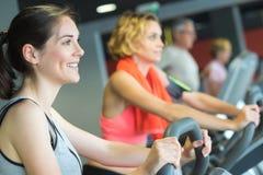 Raggruppi le donne che guidano sulla bici di esercizio in palestra Immagine Stock Libera da Diritti