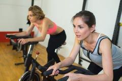 Raggruppi le donne che guidano sulla bici di esercizio in palestra Fotografia Stock Libera da Diritti