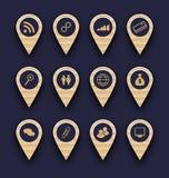 Raggruppi le icone del pittogramma di affari per progettazione il vostro sito Web Immagini Stock