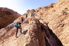 Raggruppi lo stile di vita rampicante salente della traccia di montagna del deserto di viaggiatori con zaino e sacco a pelo Fotografia Stock