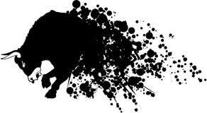 Raging bull. Abstract illustration of a bull that comes out of an ink splatter Royalty Free Stock Photography