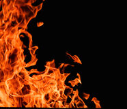 Raging flames red fire black background Stock Image