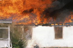Raging house fire Stock Photos