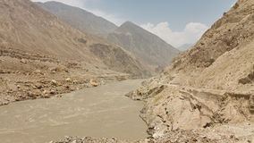 Raging Indus River, Pakistan Royalty Free Stock Image