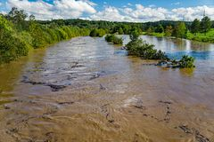 Roanoke River Out of It`s Banks - Hurricane Florence in 2018. The raging Roanoke River out of it`s bank, the rising waters was caused by Hurricane Florence in royalty free stock images