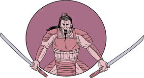 Raging Samurai Warrior Two Swords Oval Drawing. Drawing sketch style illustration of a raging Samurai warrior holding two swords viewed from front set inside Royalty Free Stock Photos