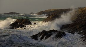 Raging sea and storm, France Royalty Free Stock Images