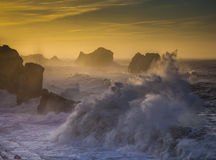 The raging sea. Sunset photography in Santander Spain Royalty Free Stock Photography