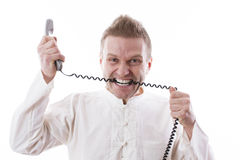 Raging telephonist Royalty Free Stock Image