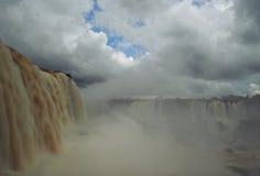 Raging waterfall at Iguazu Falls, Brazilian side. Royalty Free Stock Photo