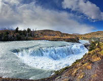 The raging waterfall on the Rio Paine. Royalty Free Stock Photography