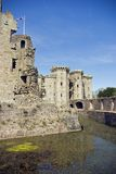 Raglan Castle. View from the Moat Walk across to the Castle Gatehouse, at Raglan Castle in Monmouthshire south Wales Stock Photography