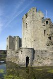 Raglan Castle. View across the moat towards the Great Tower and the south gate, at Raglan Castle in Monmouthshire south Wales Royalty Free Stock Photos