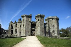 Raglan Castle. View up the hill of the Great Gatehouse at Raglan Castle in Monmouthshire South Wales Royalty Free Stock Photos