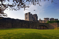 Raglan Castle. Ruins of Raglan Castle - Wales, UK royalty free stock photos