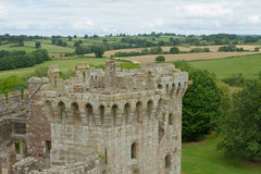 Raglan castle with landscape Stock Image