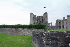 Raglan Castle and Moat Stock Image