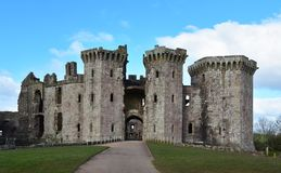Raglan Castle in Monmouthshire Wales with it`s imposing towers. And grand entranceway Royalty Free Stock Photos