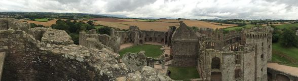 Raglan Castle. Panarama from the top of the keep at the Medieval Raglan Castle in Wales Stock Image