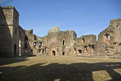 Raglan Castle Pitched Stone Court Stock Image