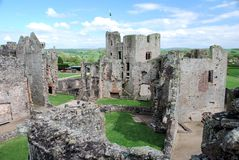 Raglan Castle ruins late medieval castle - Southeast Wales Royalty Free Stock Images
