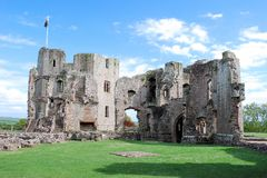 Raglan Castle ruins late medieval castle - Southeast Wales Stock Photography