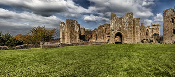 Raglan Castle ruins,  Monmouthshire, Wales Stock Photo