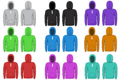 Raglan hoodie vector template. Cloth raglan, sweatshirt hoodie, wear garment illustration Royalty Free Stock Images